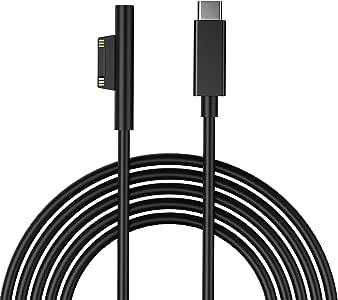 Surface Pro USB-C充電ケーブル 15V PD充電に対応 マイクロソフト Surface Pro 3/ Pro 4/ Pro 5/ Pro 6/ Surface Go/Surface Book 1/2 USB-C電源コード 1.8M
