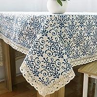 LUOSAI 綿麻製 テーブルクロス ティーテーブ クロス 食卓カバー 長方形 簡約 田園風 ブルー (Size : 140*220cm)