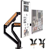 HEYMIX Dual Monitor Arm Adjustable Computer Stand Gas Spring Arm VESA Mount Full Motion Aluminum Structure with 2 Grommet Mou
