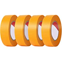 LEOBRO マスキングテープ 18mm×20m【4巻セット】 塗装用 自動車 車両用 黄色 剥がしやすい 養生用 仮止…