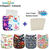 Babygoal Adjustable Reuseable Pocket Cloth Diaper Nappy 6PCS + 6 Inserts 6BG09-CA
