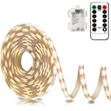 Battery Powered Led Strip Lights with Remote Warm White, 8 Modes, Dimmable, Timer, Self-Adhesive, Cuttable, Waterproof, 9.8FT