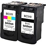 再生インク Canon(キャノン)用BC-310+BC-311(ブラック+カラー)2個セット 染料 残量表示付 【対応機種】PIXUS - (MP493, MP490, MP480, MP280, MP270, MX420, MX350, iP270