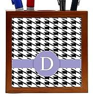 Rikki Knight Letter D Violet Houndstooth Monogram Design 5 Wooden Tile Pen Holder (PH46267) [並行輸入品]