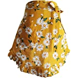 CRB Fashion Waist Apron with Pocket Cotton Commercial Restaurant Waitress Waiter for Girl Woman Half Bistro Aprons (Yellow)