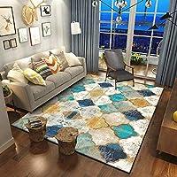 現代の エリア ラグ リビングルーム, 滑り止め 掃除が簡単 デコラティブ カーペット, レトロ ジオメトリ モロッコのエスニックスタイル フランネル 敷物 キッチンレストラン、寝室などに最適