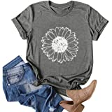 Rishine Sunflower T Shirt for Women Plus Size Summer Funny Graphic Tee Tops Casual Loose Faith Shirt Blouse