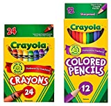 CrayolaクラシックBundle : 2Items–クレヨン( 24カウント)、Colored Pencils ( 12Count )