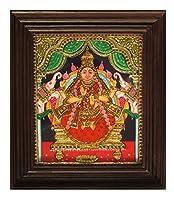 Chola Impressions Gaja Lakshmi Tanjoreペイント12インチx 10インチ