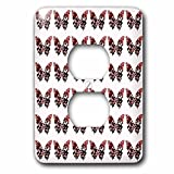 Anne Marie Baugh Butterflies–Deep Pink Butterflies All in a rowパターン–照明スイッチカバー–2プラグコンセントカバー( LSP ..