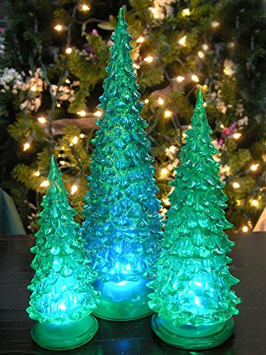 Lighted Christmas Tree - Set of 3 LED Green Acrylic Christmas Trees - Holiday Decoration - Color Changing Red Green Blue - Assorted Sizes 10 7.5 & 5.5H【クリスマス】【ツリー】 [並行輸入品]
