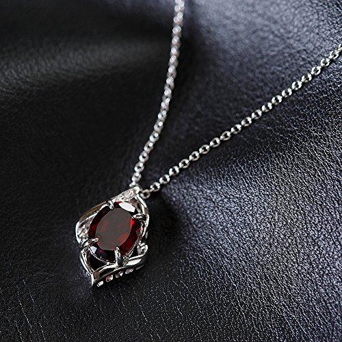 [Gem Crown] 天然 ダイヤモンド ガーネット ネックレス 選べる12誕生石 国内宝飾職人製作 [保証書付] 1月 誕生石 シルバー SV 925 ペンダント