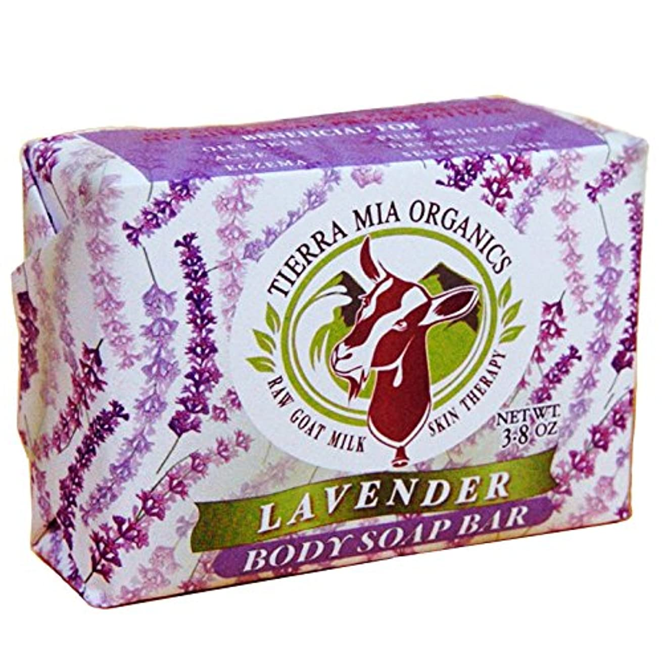 スーツバッチ丈夫Tierra Mia Organics, Raw Goat Milk Skin Therapy, Body Soap Bar, Lavender, 4.2 oz