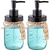 Elwiya Mason Jar Soap Dispenser - 16 Ounce Glass Mason Jar with Plastic Pump and Lid - Rust Proof - Rustic Bathroom Accessori