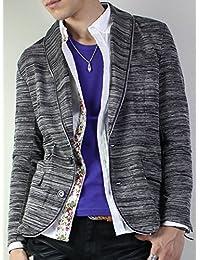 ジャケット メンズ ショールカラー スラブ モードintheattic アウター ジッパー 加工 ロック テーラードジャケット カジュアル ブルゾン ボタン へちま襟 ストレッチ カラー ホワイト 白 ブラック 黒