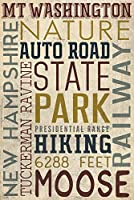 MT。ワシントン自動道路、New Hampshire – Typography 16 x 24 Signed Art Print LANT-51986-709