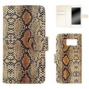 whitenuts Galaxy S7 edge ケース 手帳型 ヘビ柄 ブラウン スマホケース 手帳 WN-OD126034_L
