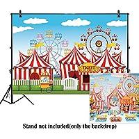 allenjoy 10x 6.5ftサーカステントバックドロップ背景幕遊園地Stratus Playgroundカーニバルカルーセルキッズ誕生日パーティーバナー背景フォトスタジオブースPhotocall