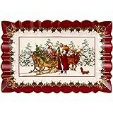 Villeroy & Boch Toys Fantasy Square Cake Plate Santa with Sleigh, 35 x 23 x 3,5 cm, White