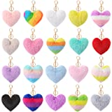 Auihiay 20 Pieces Pom Poms Keychains Heart Shaped Pompoms Keyring Fluffy Car Bag Charm for Women Girls