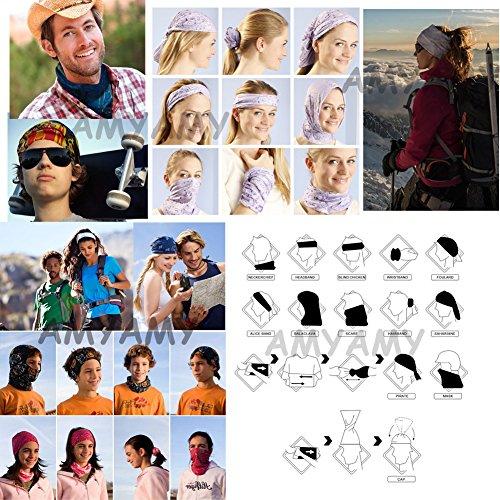 AMYAMY 16+WAY 4枚-9枚 バンダナ 多機能チューブ型 帽子 フェイスマスク ヘアバンド マジックスカーフ リストバンド ネックウォーマー サイクリング アウトドア UV シールドー ペイズリー柄 (BW)