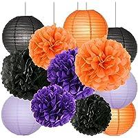 Furuix ハロウィン 飾り付け ペーパーフラワー ペーパーポンポン 提灯 誕生日 飾り付け 12点セット オレンジ パープル ブラック
