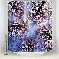 シャワーカーテン 防カビ 防水 バスカーテン フック付 150x180cm 木 ツリー 目隠し 間仕切り お風呂カーテン Evamona