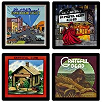 Grateful Dead Collectible Coaster Gift Set 2 - (4) Different Album Covers Reproduced Onto Soft Coasters