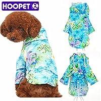 HOOPETペット犬服夏のビーチは、範トレーナーHAWAII小さな子犬パーカーシャツを着用:ブルー、M