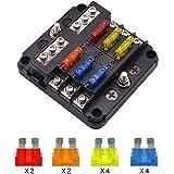 6 Way Fuse Block Blade Fuse Box Holder, 6 Circuit Car Ato/Atc Fuse Block Waterproof with 20Pcs Fuse & LED Indicator & Protect