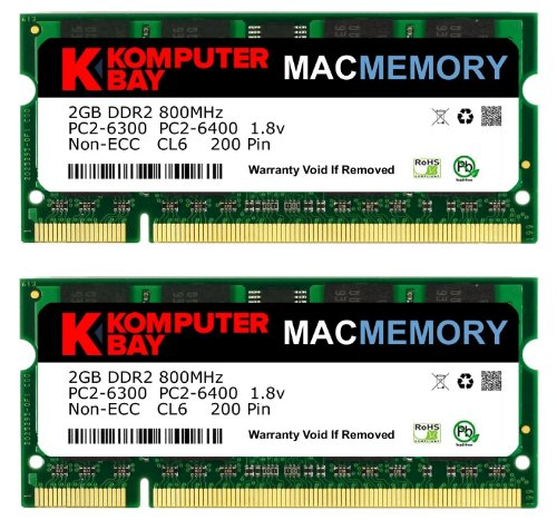 Komputerbay MACMEMORY Apple 2枚組 DDR2 800MHz PC2-6400 2GBX2 DUAL 200pin SODIMM ノート パソコン用 増設メモリ iMac Macbook