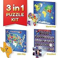 教育パズルキット、世界マップマップ、パズル、米国大統領パズル。Thick磁気Pieces for Kids