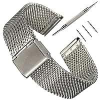 16MMバンドPinhen腕時計 ステンレス メッシュ ベルト ステンレス鋼ミラネーゼ メタル ブレス バンド 16MM 18MM 20MM 22MM 24MM 26MM バネ棒はずし 付属 (16MM Mesh Silver)