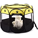 Dog Playpen,WMTGUBU Pet Pets 8 Mesh Zipper Sealed Bottom Portable Playpen Foldable Tent Exercise Kennel for Dog Cat Puppy Ind
