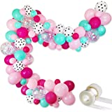 """Surprise Party Decorations Balloons Garland Kit- 88 Pack 12"""" 5"""" Rose Red Pink Sea Foam Blue White Polka Dots Latex Balloons C"""