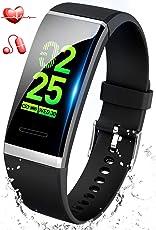 【最新版】 スマートウォッチ 血圧 心拍 歩数計 スマートブレスレット カラースクリーン 活動量計 防水 ランニングモード 消費カロリー 睡眠検測 アラーム 電話着信/SMS/Twitter/WhatsApp/Line通知 長い待機時間 iphone&Android対応 日本語説明書 (ブラック)