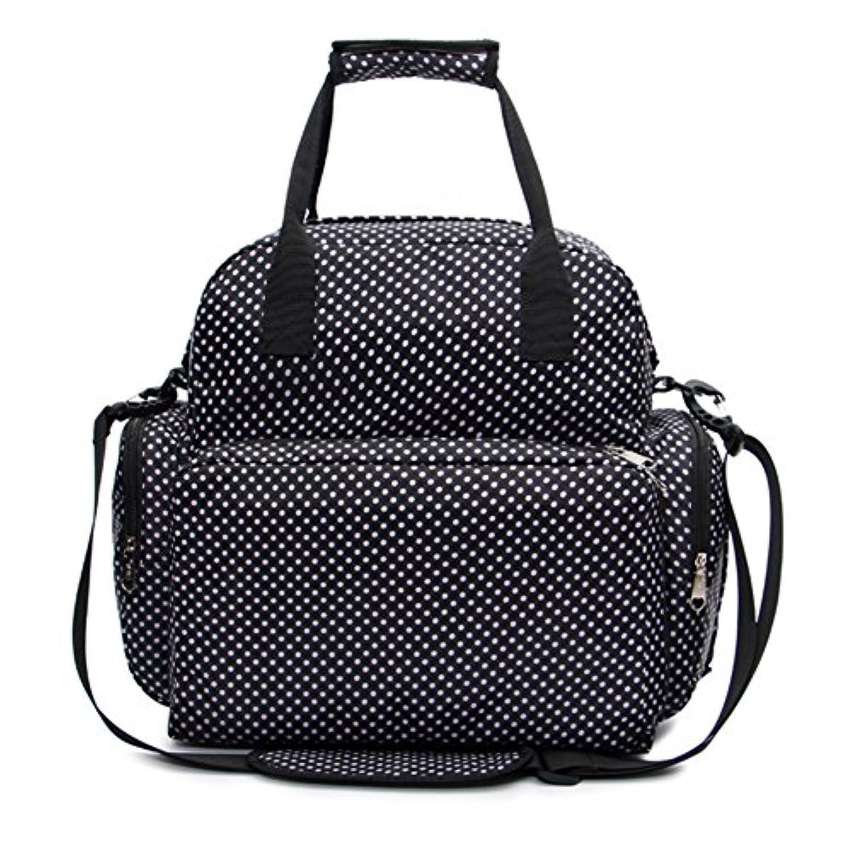 iSuperb マザーズバッグ バックパック リュックサック デイパック おむつ換えシート 吊り下げベルト 旅行バック 多機能 防水 可愛い3way (ブラック)