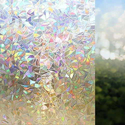 Rabbitgoo 窓 めかくしシート 3D魔法シリーズ 水で貼れる目隠しシート 貼ってはがせるガラスフィルム 外から見えない窓用フィルム UVカット 防虫忌避 飛散防止(60 x 200cm)