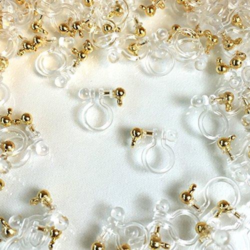 アレルギー対応イヤリング ゴールドカン付 10個 ノンホール樹脂ピアス アクセサリーパーツ ハンドメイド 手芸材料
