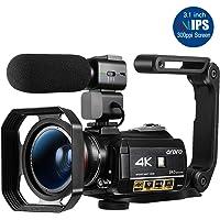 ORDRO AC3ビデオカメラウルトラHD 4kカムコーダー、マイク、1080P 60fps、デジタルズーム、3.1イン…