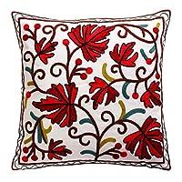 Oneslong リーフパターンの枕カバー装飾の秋のピローカバー刺繍赤クッション秋カバー正方形ピローケース家庭用ソファーベッド用の100%コットン45x45 cmまくらカバー