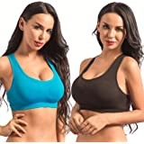 Gojinxi Sports Bras for Women, Seamless Comfortable Gym Yoga Racerback Bra Pack with Removable Pads for Workout Fitness