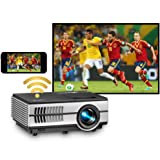 Mini Projector with Wifi Bluetooth, Wireless Portable Projector for Home Theather Gaming Projector compatible with Nintendo P