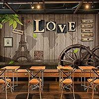 Xueshao カスタム壁画壁紙レトロヨーロッパスタイルカフェダイニングルームのリビングルーム壁画3D愛木製ホイール背景の装飾壁絵画-200X140Cm