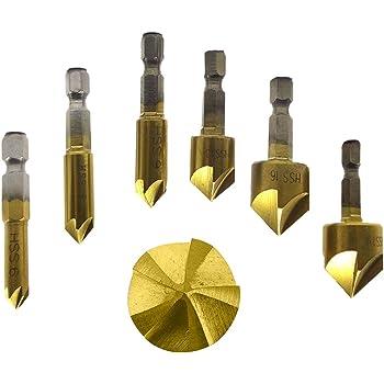 MoKun 面取りカッター バリ取り セット 六角軸 5枚刃 高速度鋼工具6-19mm 6本組