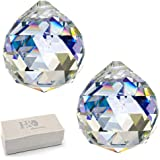 H&D Clear Glass Crystal Ball Prism Pendant Suncatcher 50mm Pack of 2