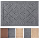 "Indoor Doormat Absorbent Mats Rubber Backing Non Slip Door Mat for Front Door Inside Floor Mud Dirt Trapper Mats Entrance Rug Shoes Scraper Machine Washable Carpet, Grey Large Squares, 24""x 36"""