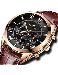 [メガリス]MEGALITH腕時計 メンズ時計レザー防水 クロノグラフ腕時計 多針アナログクオーツウオッチ 日付表示 ラグジュアリー おしゃれ ビジネス カジュアル メタル男性腕時計 ブラック
