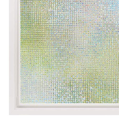 Rabbitgoo 窓 めかくしシート ガラスフィルム 目隠し 断熱 結露防止 リメイク 無接着剤 貼ってはがせる 窓用フィルム シール ステンドグラス 窓に貼るカーテン 外から見えない 平たなガラス面に適用 モザイク(湖輝 44.5 x 200cm)