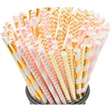 Biodegradable Paper Straws, 100 Pink Straws/Gold Straws for Party Supplies, Birthday, Wedding, Bridal/Baby Shower Decorations